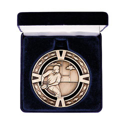 Rugby V-Series Medal & Box Gold 60mm